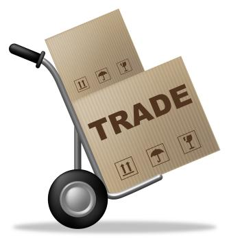 Trade Package Indicates Shipping Box And Biz
