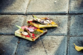 Traditional balinese offerings to gods