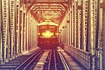 Train Crossing Metal Bridge