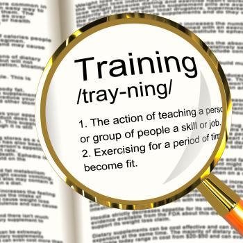 Training Definition Magnifier Showing Education Instruction Or Coachin