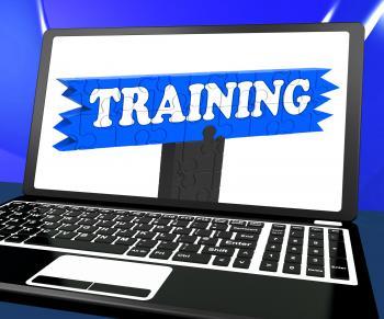 Training On Laptop Shows Coaching