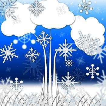 Tree Background Means Branches Leaves And Snowflakes