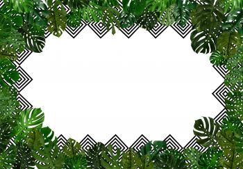 Tropical leaves background with copyspac