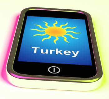 Turkey On Phone Means Holidays And Sunny Weather