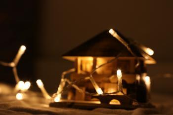 Turned on String Light on Miniature House