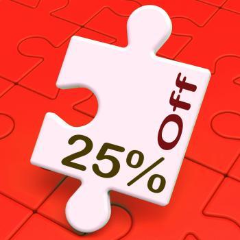 Twenty Five Percent Off Puzzle Means Reduction Or Sale 25