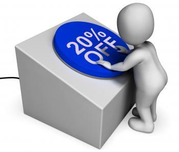 Twenty Percent Off Button Shows 20 Price Cut