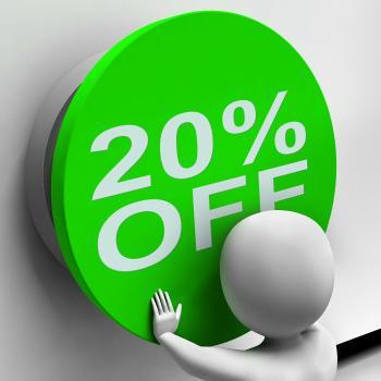 Twenty Percent Off Button Shows 20 Price Reduction