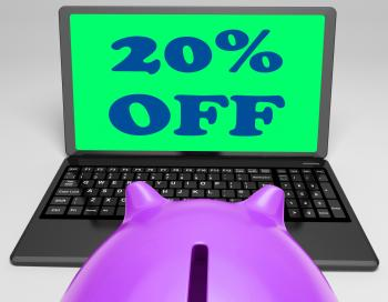 Twenty Percent Off Laptop Shows 20 Discounts Online