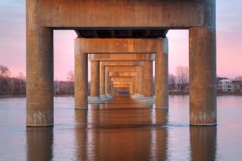 Twilight Bridge Pillars - HDR
