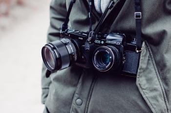 Two Black Bridge and Dslr Cameras
