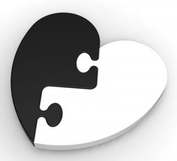Two-Colored Heart Puzzle Showing Previous Engagement