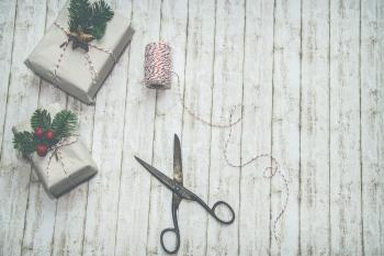 Two Gray-and-green Christmas-themed Gift Boxes