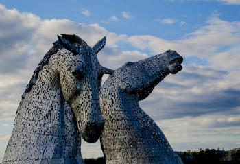 Two Gray Horse Statues