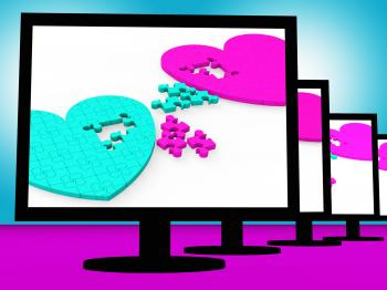 Two Hearts On Monitors Showing Celebrities Romances