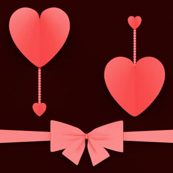 Two Hearts With Bow Mean Lovely Surprise Or Romantic Gift