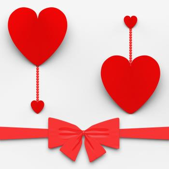 Two Hearts With Bow Mean Loving Celebration Or Decoration