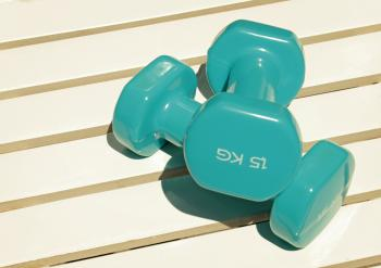 Two Plastic Coated Dumbbells