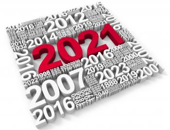 Two Thousand Twenty-One Means Happy New Year And Annual 3d Rendering