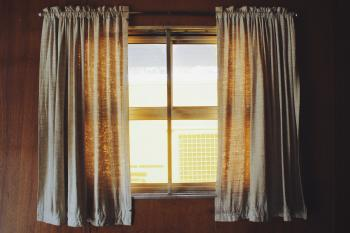 Two White Rod Pocket Curtains