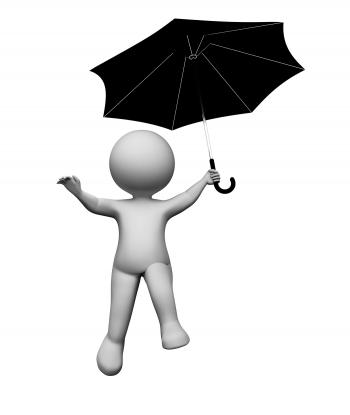 Umbrella Character Represents Render And Flying 3d Rendering