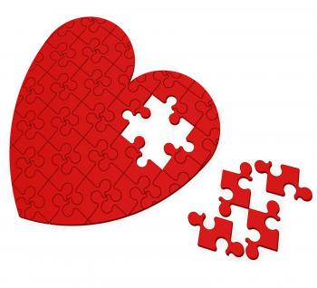 Unfinished Heart Puzzle Shows Valentines Day