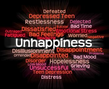 Unhappiness Word Represents Grief Stricken And Dejected