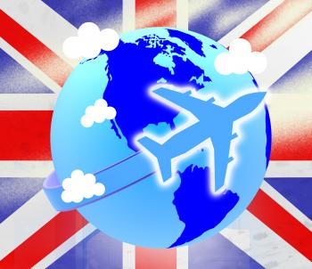Union Jack Represents English Flag And Airline