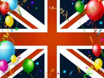 Union Jack Represents English Flag And Balloon