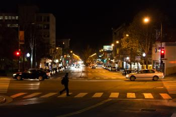 University Ave & Oxford St in Berkeley at night