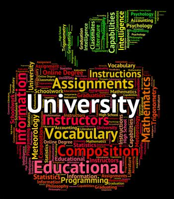 University Word Represents Educational Establishment And Academy