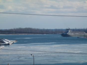 Unknown lake freighter departs Toronto through the Eastern Gap, 2013 12 30 (27)