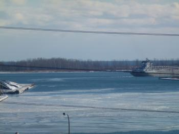 Unknown lake freighter departs Toronto through the Eastern Gap, 2013 12 30 (28)