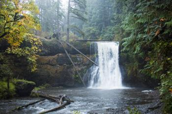 Upper North Falls, Silver Creek Park Oregon, Autumn Rain