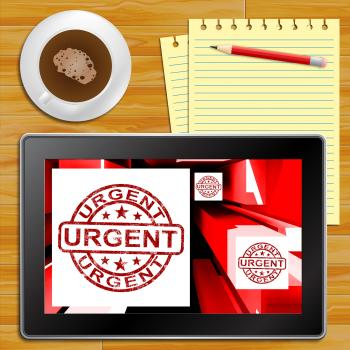 Urgent On Cubes Shows Urgent Priority Tablet