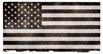 USA Grunge Flag - Black and White