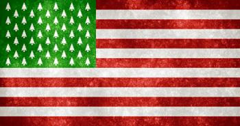 USA Grunge Flag - Christmas Trees