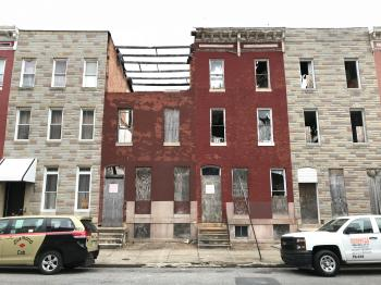 Vacant rowhouses, 500 block of N. Calhoun Street, Baltimore, MD 21223