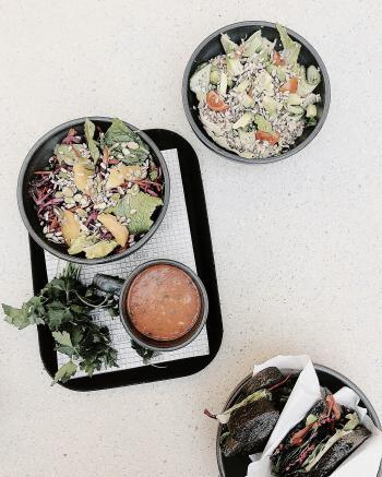 Vegetable Salad On Black Tray
