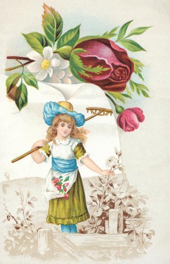 Victorian Trade Card - Gardening Girl