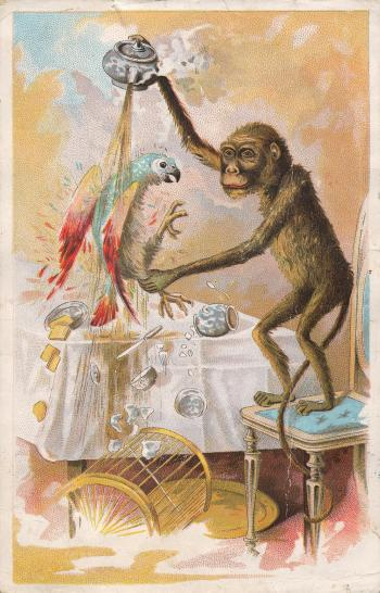 Victorian Trade Card - Monkey Business