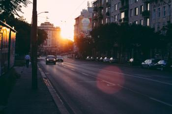 View of Sunset on Road