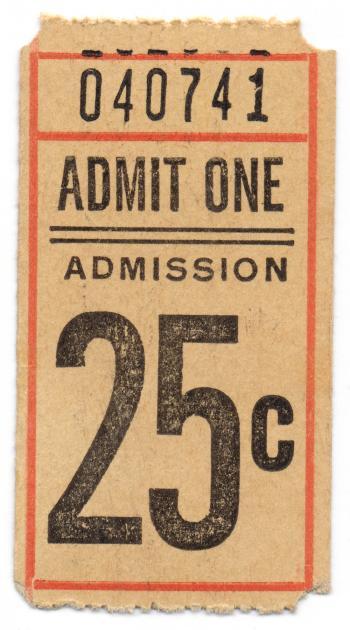 Vintage Admission Ticket - Front Side