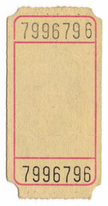 Vintage Admit One Ticket - Back Side