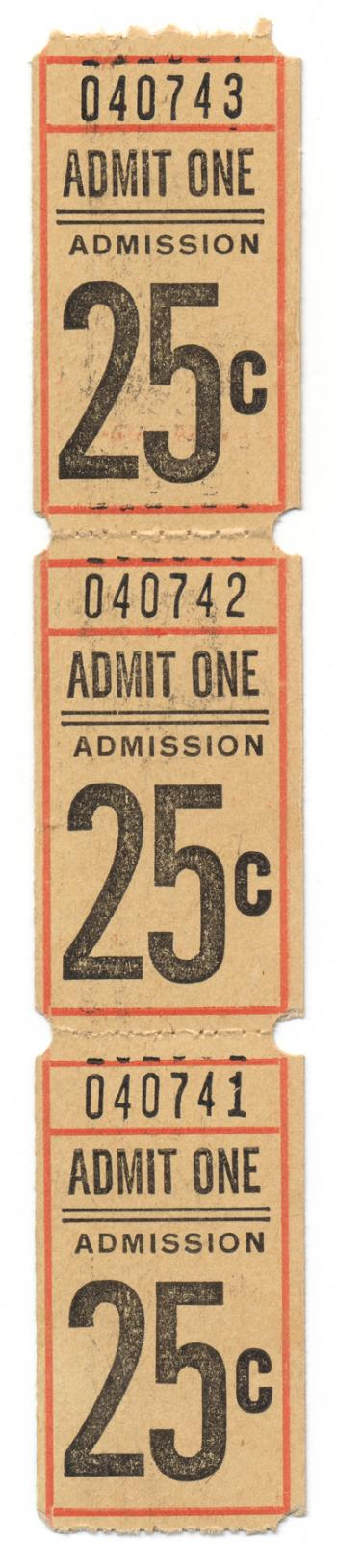Vintage Admit One Ticket x3