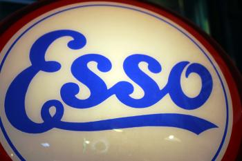 Vintage Esso oil company illuminated sign logo