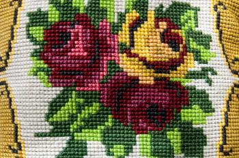 Vintage fower fabric embroidery