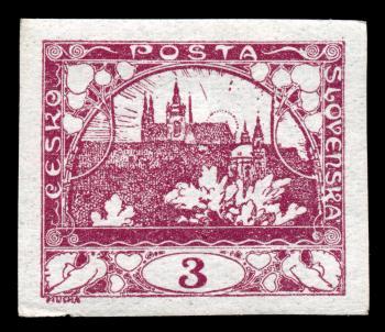 Violet Hradcany Castle Stamp