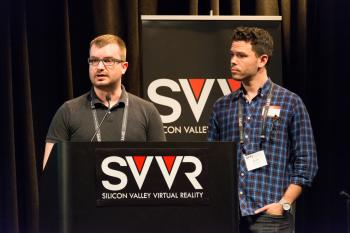 Vladimir Vukicevic (speaking) and Josh Carpenter of Mozilla giving 60 Second Pitch at SVVR