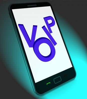 Voip On Mobile Shows Voice Over Internet Protocol Or Ip Telephony